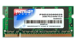 Pamięć Patriot Memory Signature PSD22G8002S (DDR2 SO-DIMM;1 x 2 GB;800 MHz;CL6)